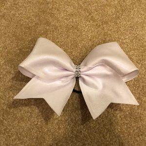 White shimmer cheer bow